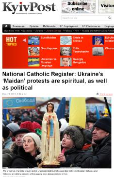 Wykorzystanie religii do celów politycznych. Kolorowa rewolucja, Majdan, Ukraina, Kijów, XII 2013.